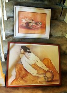 "Native American Print By RC Yoman, 23"" x 29"", And Framed Matted Under Glass Ron Bergen Pottery Print, 17.25"" x 21.25"""
