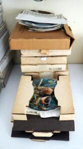 Edwin M. Knowles Collectible Bird Plates, Qty 11, Including Woodpecker, Goldfinch, Robin, Bluebird, And More, All In Original Boxes, Click For Details
