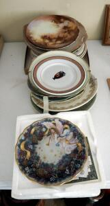 Antique Painted China Plate Collection, Qty 21