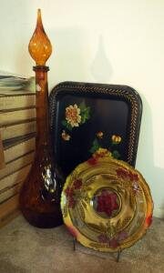 "Mid Century Italian Buildcraft 26"" Art Glass Decanter, Painted Glass Plate, And Painted Metal Trays Qty 4"