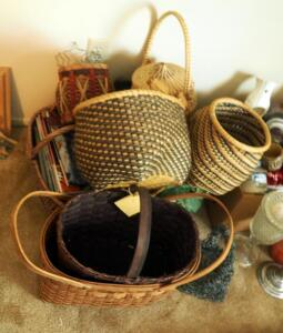 Hand Woven Art Baskets Including Native American Woven Grass Basket With Lid, Qty 12