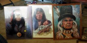 "Native American Framed Prints Including Mother And Child, Tribe Elder In Hat, And Soldier, 21"" x 17"""