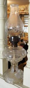 "Antique Glass Kerosene Oil Lamps, Qty 2, 19.5"" And 20.5"" Tall"