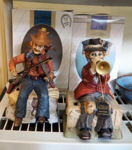 Melody In Motion, Battery Operated Musical, Hand Painted Bisque Porcelain Cowboy And Clown