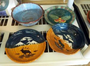 Yellowstone National Park Matching Clay Pottery Plate And Bowl, Glazed Drip Bowl, And Butterfly Plate