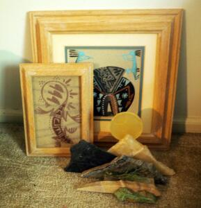 "Kokopelli And Bear, Framed And Matted Sand Painting 11"" x 11"", Lizard Sand Painting 7.5"" x 5.5"", And Stone Fountain Hills Mountain Sculpture"