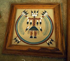 "Framed ""Female Yei-Be-Chai"" Sand Painting By Patricia Ben Dated 1998, 11"" x 11"", And ""Father Sky"" By Navajo Artist Yazzie, 13.5"" x 7.5"""