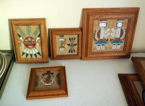 "Native American Framed Sand Paintings, Qty 4, 2 Signed By Artists, 9"" x 9"" And 5.5"" x 5.5"""