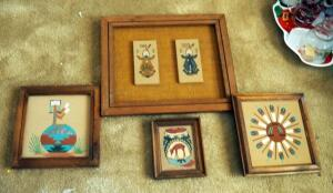 Framed Native American Sand Paintings, Qty 4, 2 Signed By Artists, Various Sizes