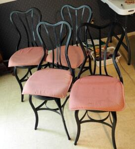 Vintage Metal Slat Back Chairs With Round Wood Seats, Qty 4