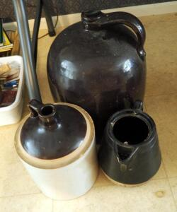 "Large Glazed Pottery Jug 14"" Tall, 10"" Jug, And Pitcher (Missing Lid)"