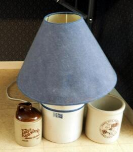 "Blue Band Stoneware Jug Table Lamp 19"" Tall, Lowry City Missouri Crock, And Ehrle Bros Winery Jug"
