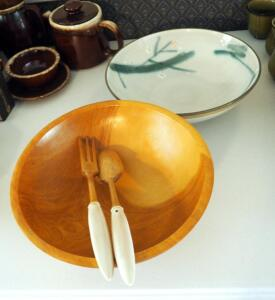 "De Luxe 12"" Wood Bowl With 12"" Painted Pottery Bowl Includes Matching Wood Spoon And Fork Set"