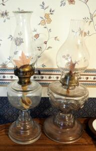 "Antique Glass Kerosene Oil Lamps With Flat Wick Burners, Qty 2, 19"" And 20"""