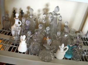 Glass Decanter Collection, Various Sizes And Styles, Approximate Qty 26 Pieces, Contents Of Shelf