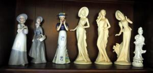 Porcelain And Ceramic Painted Figurines, Qty 7, Contents Of Shelf