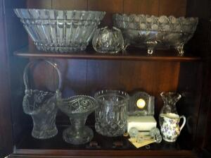 "11"" Crystal Bowl, 10"" Crystal Footed Bowl, Glass Basket, Crystal Knife Rests, And More, Contents Of 2 Shelves"