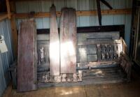 "Architectural Salvage Pieces Including Solid Wood Doors Qty 2, 73.5"" x 28"" And 79"" x 32"", Window Frames Qty 3, And Slat Back Porch Swing 75.5"" Long"