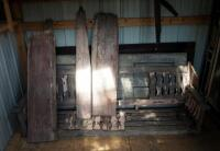 "Architectural Salvage Pieces Including Solid Wood Doors Qty 2, 73.5"" x 28"" And 79"" x 32"", Window Frames Qty 3, And Slat Back Porch Swing 75.5"" Long - 2"