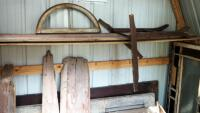 "Architectural Salvage Pieces Including Solid Wood Doors Qty 2, 73.5"" x 28"" And 79"" x 32"", Window Frames Qty 3, And Slat Back Porch Swing 75.5"" Long - 3"