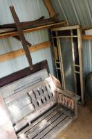 "Architectural Salvage Pieces Including Solid Wood Doors Qty 2, 73.5"" x 28"" And 79"" x 32"", Window Frames Qty 3, And Slat Back Porch Swing 75.5"" Long - 4"