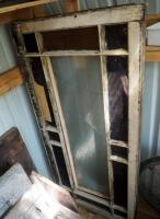 "Architectural Salvage Pieces Including Solid Wood Doors Qty 2, 73.5"" x 28"" And 79"" x 32"", Window Frames Qty 3, And Slat Back Porch Swing 75.5"" Long - 5"