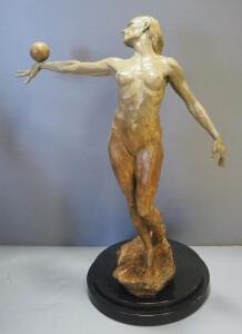 "Paige Bradley (American, 1974- ), ""Balance (Half Life)"" Bronze Statue, Numbered 61/100, 41"" High"