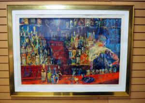 "Leroy Neiman (American, 1921-2012) ""Irish American Bar"", Signed And Numbered 158/300, Framed, Matted, Under Glass, 38"" Wide x 35.5"" High"