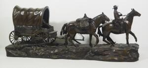 "R. Clark Bronze Statue After Charles M. Russell (American, 1864-1926), ""Covered Wagon"", 13"" High x 33.5"" Long"