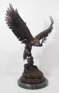 "Jules Moigniez (French, 1835-1894) ""Falcon"" Bronze Statue, 24"" High, Marble Base"