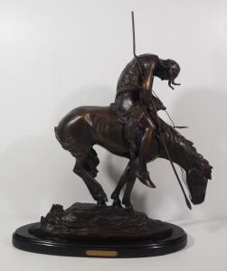 "James Earl Fraser (American, 1876-1953) ""End Of The Trail"" Bronze Statue, 23.75"" High, Marble Base Cracked"