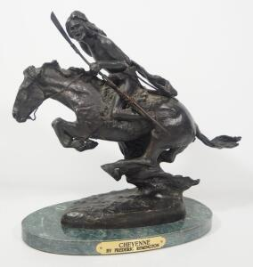 "Frederic Remington (American, 1861-1909), ""Cheyenne"" Bronze Statuette, 11.5"" High, Marble Base"