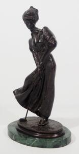 "Joseph d'Aste (French, 1881-1945), ""Golfer (Female)"" Bronze Statuette, 13.25"" High, Marble Base"