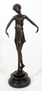 "A. Carrica After Pierre Le Faguays (Fayral) ""Dancer With Hoop"" (No Hoop), Bronze Statuette, 14.75"" High"