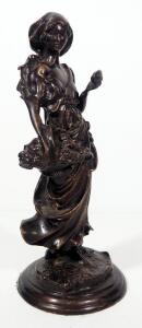 "Art Nouveau Bronze Statuette Of A Woman With An Apple Basket, 11.25"" High"