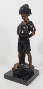 "Bronze Statuette Believed To Be By L. Inzeller (French), ""Enfant a la Grenouille (Child With A Frog)"", 16.75"" High"