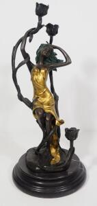 "Miguel Fernando Lopez (Milo) (Portuguese, 1955 - ), Bronze Statuette Candle Holder Of Girl Holding Lotus', Painted, 15.5"" High, Marble Base"