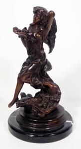 "Louis Icart (French, 1888-1950), Bronze Statuette Of A Woman Seated On A Wave, 13"" High, Marble Base"