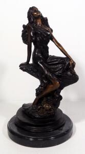 "Louis Icart (French, 1888-1950), ""Cancer"" Zodiac Bronze Statuette Of A Seated Woman, 13"" High, Marble Base"