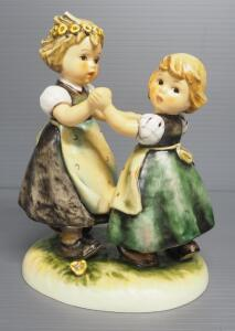 "M I Hummel ""Spring Dance"" Figurine No. 353, 6.5"" High, 1963 Engraving Year, Three Line Mark"