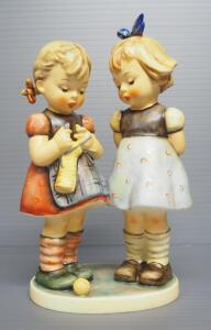 "M I Hummel ""Knitting Lesson"" Figurine No. 256, 7.25"" High, Three Line Mark"