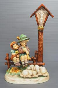 "M I Hummel ""Wayside Devotion"" Figurine No. 28, 7.5"" High, Stylized Bee Mark"