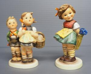 "M I Hummel Figurines Includes ""Bashful"" No. 377, 4.75"" H, 1966 Engraving Year, Last Bee Mark, And ""To Market"" No. 49/3/0, 4.25"" H, Stylized Bee Mark"