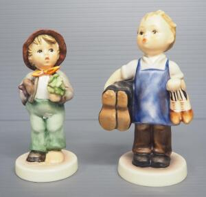 "M I Hummel Figurines Includes ""Boots"" No. 143/0, 5"" H, Stylized Bee Mark, And ""Lost Stocking"" No. 374, 4.5"" H, 1963 Or 1965 Engraving, Last Bee Mark"