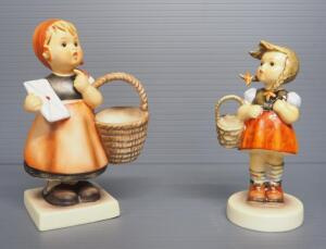 "M I Hummel Figurines Includes ""Little Shopper"" No. 96, 4.75"" High, Last Bee Mark, And ""Meditation"" No. 13/0, 5.5"" High, Stylized Bee Mark"