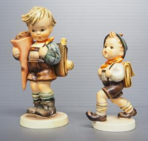 "M I Hummel Figurines Includes ""Little Scholar"" No. 80, 5.5"" High, Stylized Bee Mark And ""School Boy"" No. 82/2/0, 4"" High, Full Bee Mark"