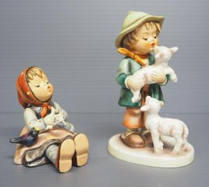 "M I Hummel Figurines Includes ""Happy Pastime"" No. 69, 4"" High, Last Bee Mark, And ""Shepherd's Boy"" No. 64, 5.5"" High, Stylized Bee Mark"