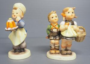 "M I Hummel Figurines Includes ""To Market"" No. 49/3/0, 4.25"" High, Stylized Bee Mark, And ""Baker"" No. 128, 4.75"" High, Stylized Bee Mark"