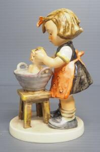 "M I Hummel ""Doll Bath"" Figurine No. 319, 4.75"" High, 1956 Engraving Year, Last Bee Mark"