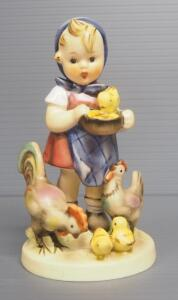 "M I Hummel ""Feeding Time"" Figurine No. 199, 5.25"" High, 1948 Engraving Year, Three Line Mark"